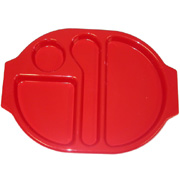 Red Polycarbonate Meal Tray (Large) H1410