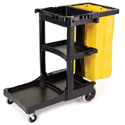 Rubbermaid Janitor Cart with Zippered Yellow Vinyl Bag 1805985
