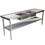 Stainless-Steel Sink Unit: Double-Bowl, Double-Drainer (2400mm) SINK24600D